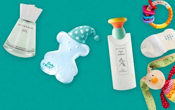 Perfumes para bebés en exhibición.