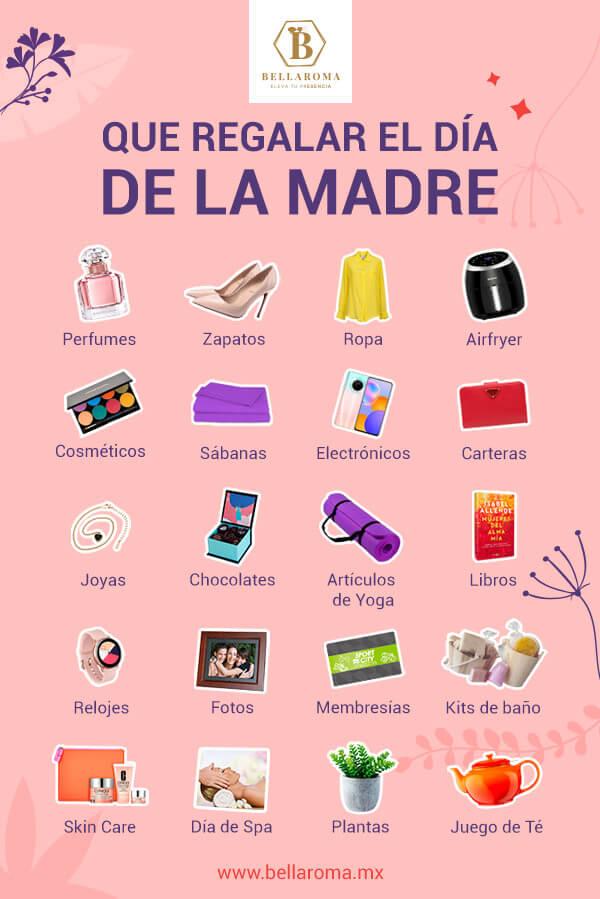 infografia con 20 ideas de regalo para el dia de la madre