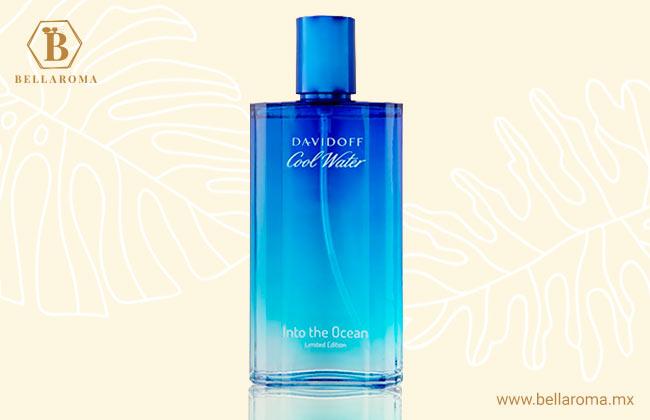 frasco de perfume davidoff cool water in to the ocean fondo tropical