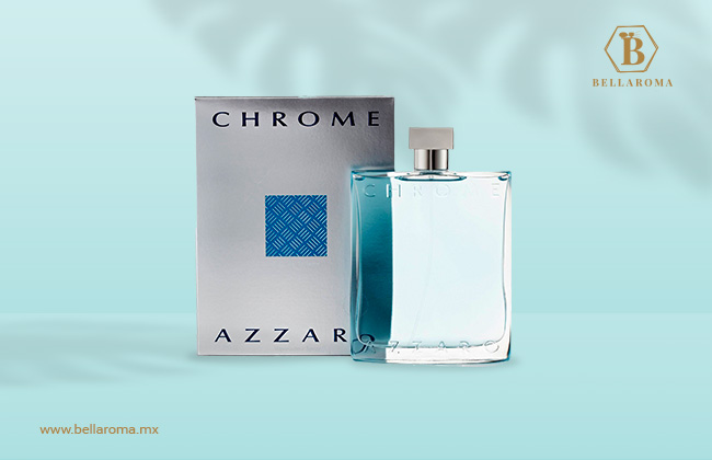 Frasco y caja de perfume azzaro chrome  para hombre