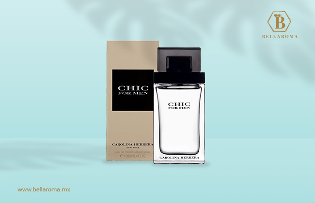 Caja y frasco del perfume chic de carolina herrera para hombre