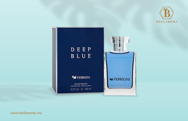 Perfume fresco para hombre ferrioni deep caja y frasco del perfume